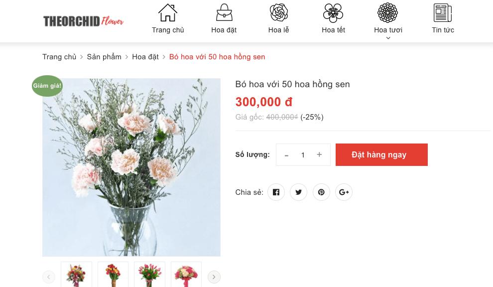 nhấn đặt mua hoa
