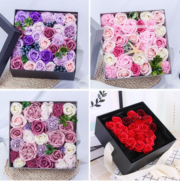 Hoa hồng sáp hộp vuông cao cấp