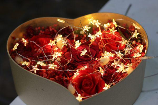 Hộp hoa hồng khô hình trái tim