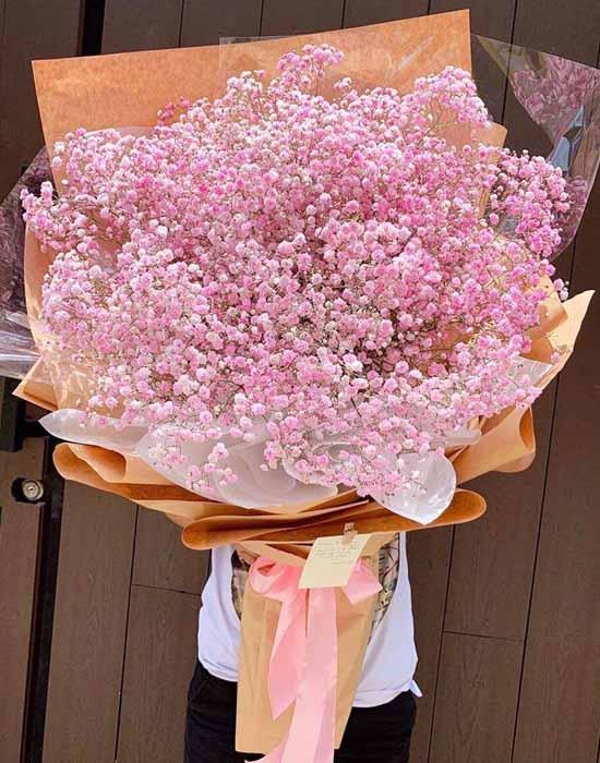 """Bó hoa baby hồng """"Phong cách mới"""""""