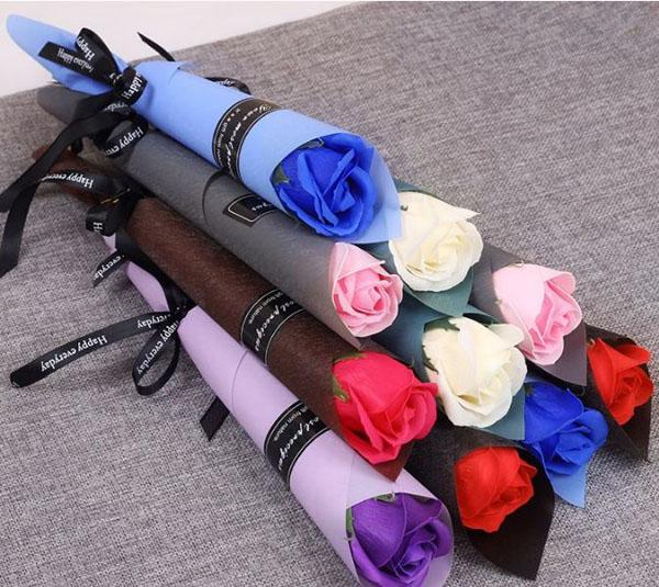 Hoa hồng sáp 1 bông quấn giấy thắt nơ