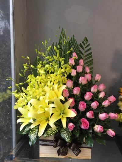 Giỏ hoa ly chúc mừng - Lời chúc thành công